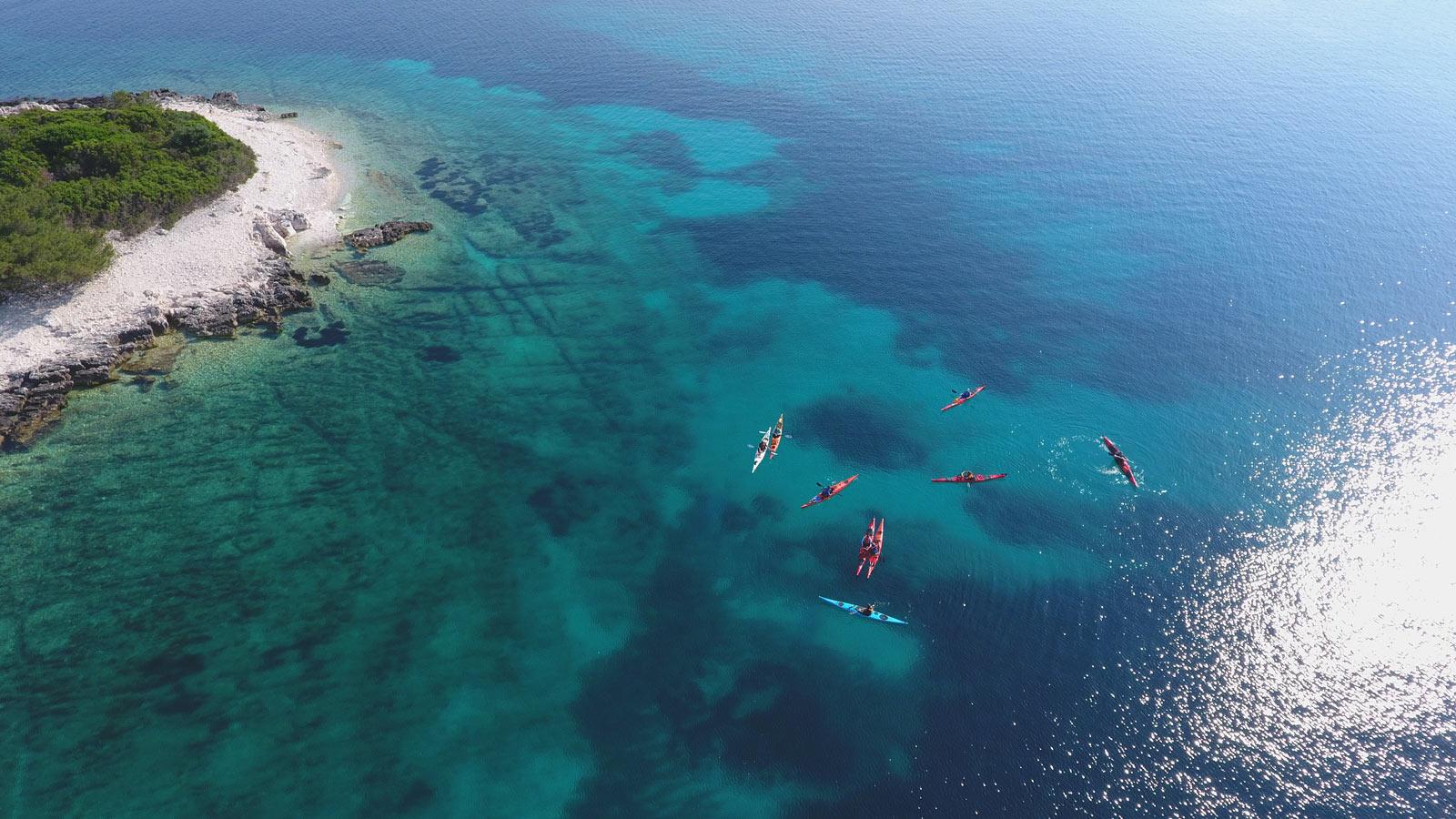 kayaks in the sea drone photo korcula
