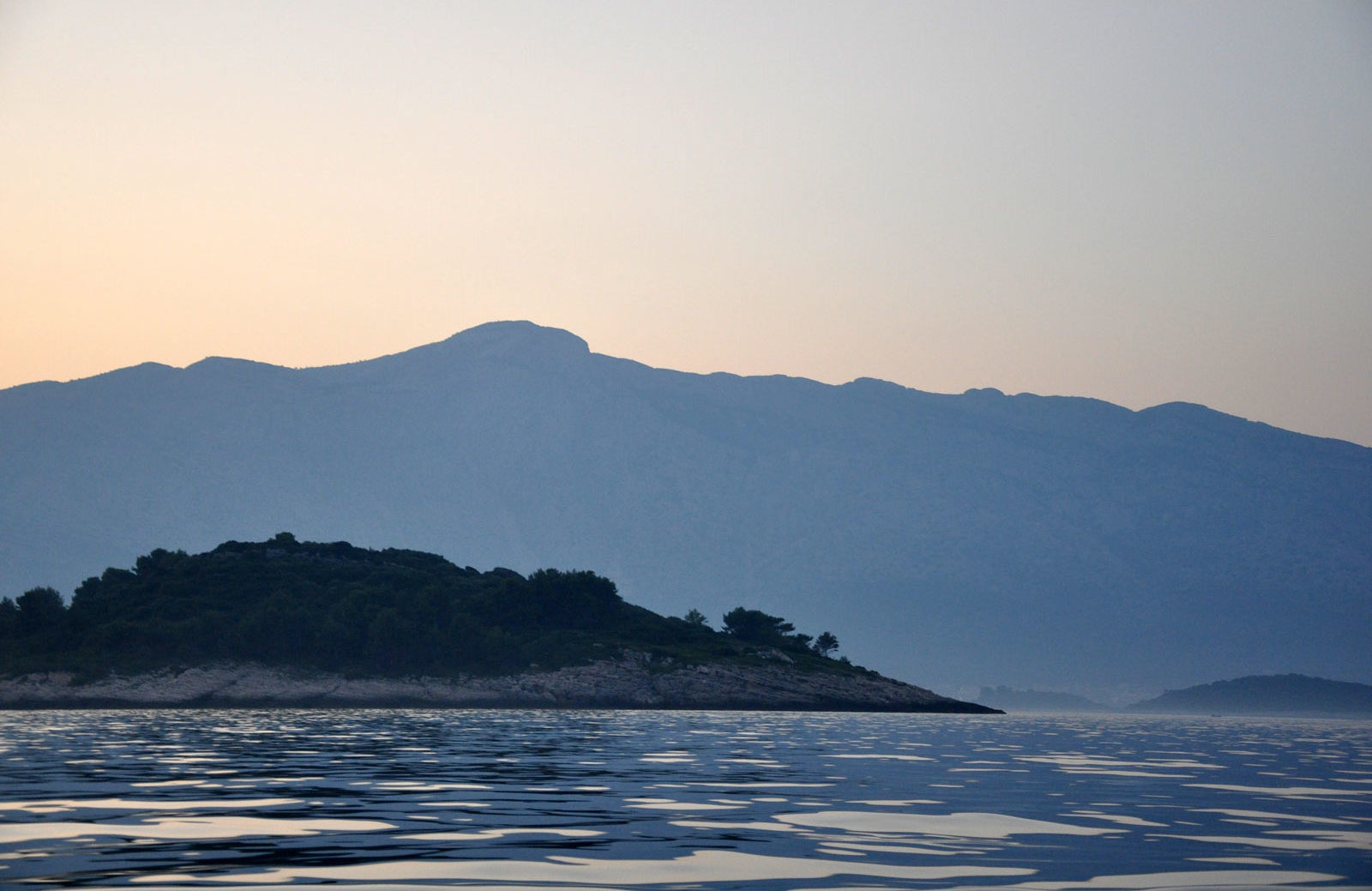 island in sunset